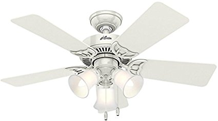 Hunter-51010-Southern-Breeze-42-inch-White-Ceiling-Fan-with-Five-WhiteBleached-Oak-Blades-and-Frosted-Glass-Light-Kit
