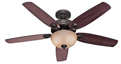 Hunter-53091-Builder-Deluxe-5-Blade-Single-Light-Ceiling-Fan-with-Brazilian-CherryStained-Oak-Blades-and-Piped-Toffee-Glass-Light-Bowl,-52-Inch,-New-Bronze