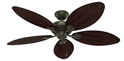 Hunter-54098-Bayview-54-inch-ETL-Damp-Listed,-Provencal-Gold-Ceiling-Fan-with-Five-Antique-Dark-WickerAntique-Dark-Palm-Leaf-Plastic-Blades
